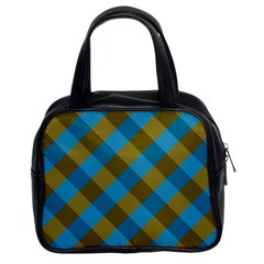 Plaid Line Brown Blue Box Classic Handbags (2 Sides) by AnjaniArt