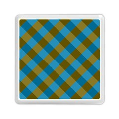 Plaid Line Brown Blue Box Memory Card Reader (square)  by AnjaniArt