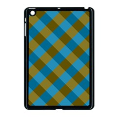 Plaid Line Brown Blue Box Apple Ipad Mini Case (black) by AnjaniArt