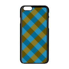 Plaid Line Brown Blue Box Apple Iphone 6/6s Black Enamel Case by AnjaniArt