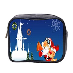 Santa Claus Reindeer Horn Castle Trees Christmas Holiday Mini Toiletries Bag 2-Side