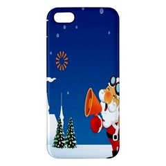 Santa Claus Reindeer Horn Castle Trees Christmas Holiday Apple Iphone 5 Premium Hardshell Case by AnjaniArt
