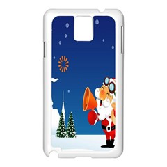 Santa Claus Reindeer Horn Castle Trees Christmas Holiday Samsung Galaxy Note 3 N9005 Case (white) by AnjaniArt