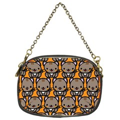 Sitcat Orange Brown Chain Purses (one Side)  by AnjaniArt
