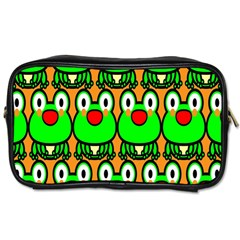 Sitfrog Orange Face Green Frog Copy Toiletries Bags by AnjaniArt