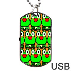 Sitfrog Orange Face Green Frog Copy Dog Tag Usb Flash (one Side) by AnjaniArt