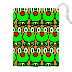 Sitfrog Orange Face Green Frog Copy Drawstring Pouches (xxl) by AnjaniArt