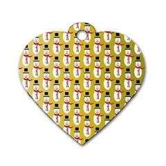 Snowman Green Dog Tag Heart (one Side) by AnjaniArt