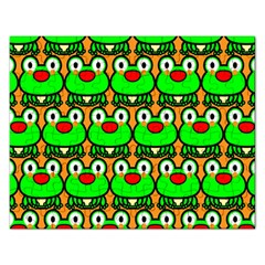 Sitfrog Orange Green Frog Rectangular Jigsaw Puzzl by AnjaniArt