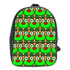 Sitfrog Orange Green Frog School Bags(large)  by AnjaniArt