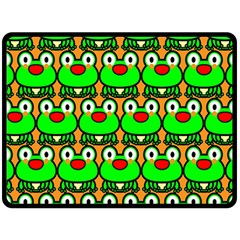 Sitfrog Orange Green Frog Fleece Blanket (large)  by AnjaniArt