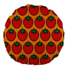 Strawberry Orange Large 18  Premium Flano Round Cushions by AnjaniArt