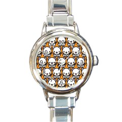 Sitwhite Cat Orange Round Italian Charm Watch by AnjaniArt