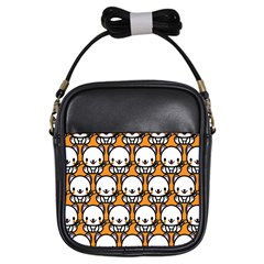 Sitwhite Cat Orange Girls Sling Bags by AnjaniArt