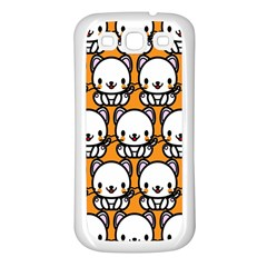 Sitwhite Cat Orange Samsung Galaxy S3 Back Case (white) by AnjaniArt
