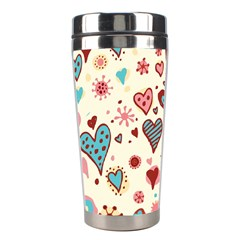 Valentine Heart Pink Love Stainless Steel Travel Tumblers by AnjaniArt
