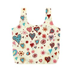 Valentine Heart Pink Love Full Print Recycle Bags (m)  by AnjaniArt