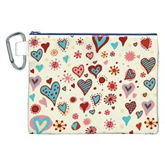Valentine Heart Pink Love Canvas Cosmetic Bag (xxl) by AnjaniArt