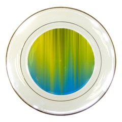 Yellow Blue Green Porcelain Plates by AnjaniArt