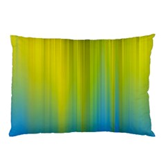 Yellow Blue Green Pillow Case by AnjaniArt