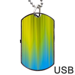 Yellow Blue Green Dog Tag Usb Flash (one Side) by AnjaniArt