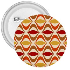 Wave Orange Red Yellow Rainbow 3  Buttons by AnjaniArt