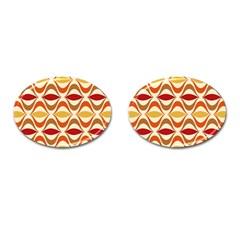 Wave Orange Red Yellow Rainbow Cufflinks (oval) by AnjaniArt