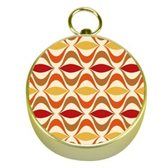 Wave Orange Red Yellow Rainbow Gold Compasses by AnjaniArt