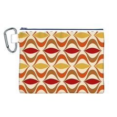 Wave Orange Red Yellow Rainbow Canvas Cosmetic Bag (l) by AnjaniArt