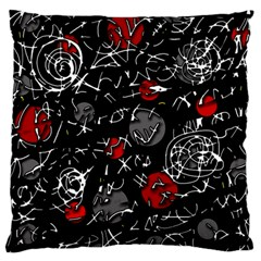 Red Mind Large Flano Cushion Case (one Side) by Valentinaart