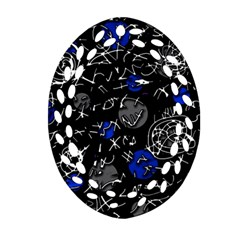 Blue Mind Oval Filigree Ornament (2 Side)  by Valentinaart