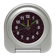 Brick1 Black Marble & Pink Marble Travel Alarm Clock by trendistuff