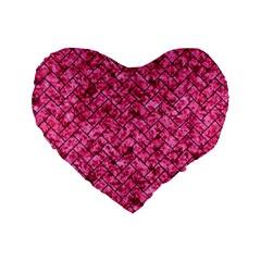 Brick2 Black Marble & Pink Marble (r) Standard 16  Premium Flano Heart Shape Cushion  by trendistuff
