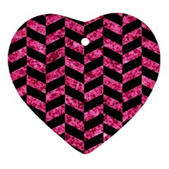 Chevron1 Black Marble & Pink Marble Ornament (heart) by trendistuff