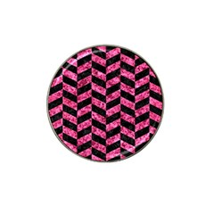 Chevron1 Black Marble & Pink Marble Hat Clip Ball Marker (4 Pack) by trendistuff