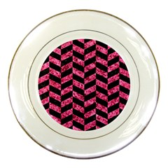Chevron1 Black Marble & Pink Marble Porcelain Plate by trendistuff