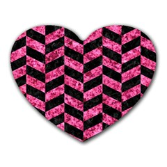 Chevron1 Black Marble & Pink Marble Heart Mousepad by trendistuff
