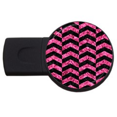 Chevron2 Black Marble & Pink Marble Usb Flash Drive Round (2 Gb)