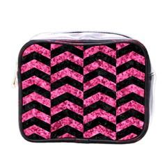 Chevron2 Black Marble & Pink Marble Mini Toiletries Bag (one Side) by trendistuff
