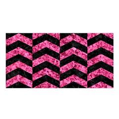 Chevron2 Black Marble & Pink Marble Satin Shawl by trendistuff