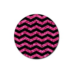 Chevron3 Black Marble & Pink Marble Rubber Round Coaster (4 Pack) by trendistuff