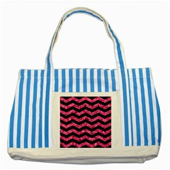 Chevron3 Black Marble & Pink Marble Striped Blue Tote Bag by trendistuff