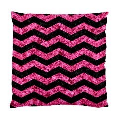 Chevron3 Black Marble & Pink Marble Standard Cushion Case (one Side) by trendistuff