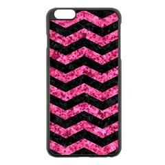 Chevron3 Black Marble & Pink Marble Apple Iphone 6 Plus/6s Plus Black Enamel Case by trendistuff