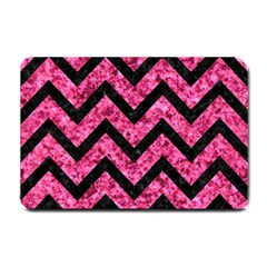 Chevron9 Black Marble & Pink Marble (r) Small Doormat by trendistuff