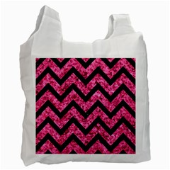 Chevron9 Black Marble & Pink Marble (r) Recycle Bag (one Side) by trendistuff