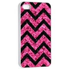 Chevron9 Black Marble & Pink Marble (r) Apple Iphone 4/4s Seamless Case (white) by trendistuff