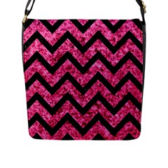 Chevron9 Black Marble & Pink Marble (r) Flap Closure Messenger Bag (l) by trendistuff