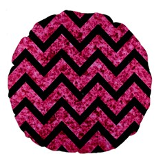 Chevron9 Black Marble & Pink Marble (r) Large 18  Premium Flano Round Cushion  by trendistuff