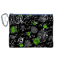 Green Mind Canvas Cosmetic Bag (xl) by Valentinaart